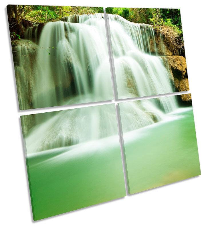 Paradise Waterfall Thailand MULTI CANVAS Wand Kunst Square Drucken