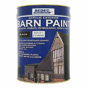 5lt bedec acrylic exterior barn paint matt black for all external wood ebay - Acrylic paint exterior plan ...
