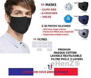 10 MASQUES COTTON TISSU FILTRE LAVABLE ET 20 FILTRES CHARBON ACTIF PM2.5 FR