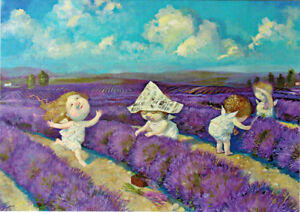 THREE-ANGELS-WORK-ON-LAVENDER-FIELD-BUT-ONE-MISBEHAVES-Modern-postcard