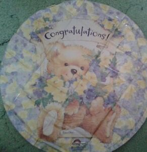 CONGRATULATIONS-Teddy-Bear-amp-Flowers-Baby-Exams-Driving-Test-18-034-Foil-Balloon