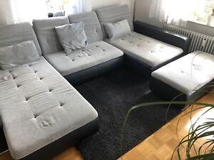Große Couch, Sofa, Wohnlandschaft, Hocker mit Staufunktion, grau/schwarz - Reutlingen, Deutschland - Große Couch, Sofa, Wohnlandschaft, Hocker mit Staufunktion, grau/schwarz - Reutlingen, Deutschland