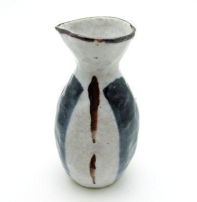 """Handmade Japanese Pottery Sake Server Tokkuri Signed, Yubi Ato Finger Marks 4.5"""""""