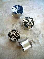 "Pair Ear Plugs 5/8"" 16mm Steel Double Flare Tunnels Reversible Zebra Print BRL3"