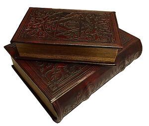 Star-of-David-Book-Box-Set-of-2-Judaica-Keepsake-Box-Leather-over-Wood