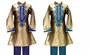 Boys-039-Designer-Kurta-Set-Indian-Clothing-2-Piece-Party-Suit-Sizes-2-to-9-years