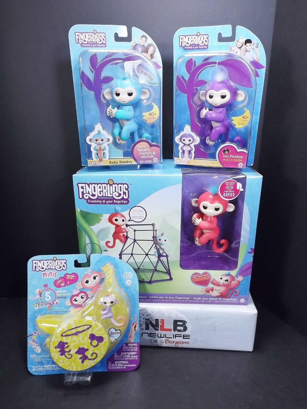 Fingerlings Jungle Gym Playset, Fingerlings Minis 5pc Kait Set & 2 Baby Monkeys