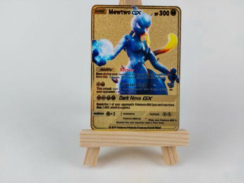 Dark Mewtwo GX Gold Metal Pokemon Cards