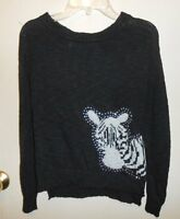 Heart-n-crush Girls Embellished Zebra Knit Pullover Sweater Top Black Small (s)