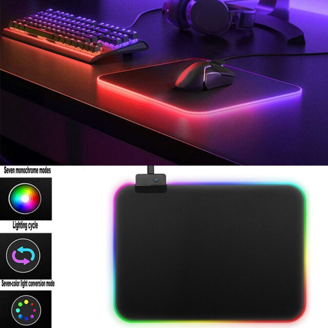 Led Gaming Mouse Pad LARGE Comfortable RGB Lighting Big Hard Computer Mice Mat F