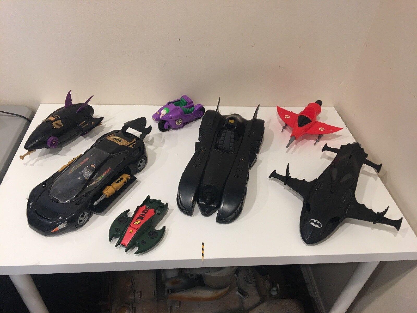 Vintage 1992 Kenner Batman Batmobile Batmissile PLANE , COUPE , JOKER CYCLE