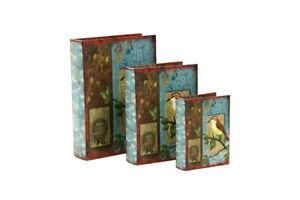 Caja libro de madera azul y marrón con pájaro, decoración estantería hogar