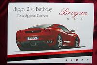 Personalised Handmade Birthday Card Ferrari Car Red 18th 21st 30th 60th (1560)