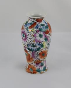 VINTAGE Florero de porcelana con decoracion Floral.   Años 80