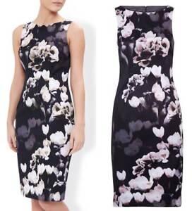 Monsoon-dress-stunning-Alberta-black-floral-occasion-wedding-races-size-UK-8-10