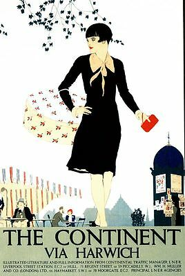 1930's LNER The Continent Via Harwich Railway Poster  A3/A2 Print