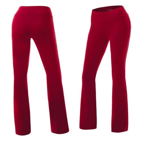 Women Solid High Waist Flare Wide Leg Chic Trousers Bell Bottom Yoga Pants Pop