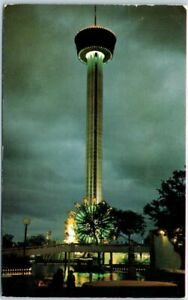 San-Antonio-Texas-Postcard-034-TOWER-OF-THE-AMERICAS-034-Night-View-1976-TX-Cancel
