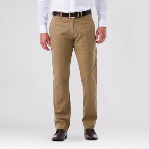 Men/'s Straight Fit Sustainable Chino Pants Dark Tan Beige Premium Haggar H26