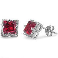 Halo Princess Cut Ruby .925 Sterling Silver Stud Earrings on sale