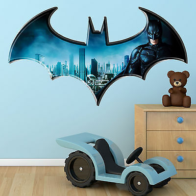 Batman Dark knight Logo Multi Colour Wall Art Sticker Superhero Bedroom Graphic