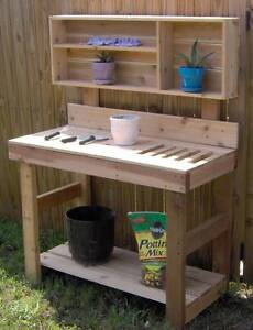 Details about NEW 4 FT BIG CEDAR POTTING BENCH PLANTER GARDENING BENCHES  PLANTER TABLE