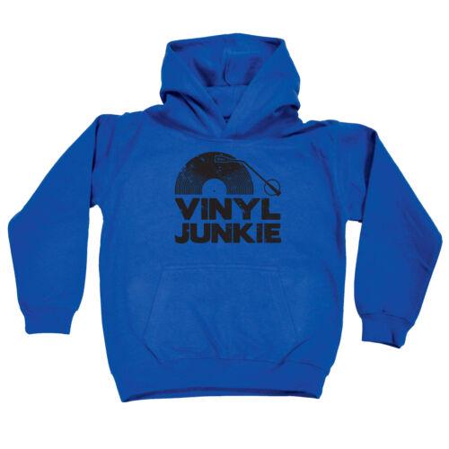 Funny Kids Childrens Hoodie Hoody Vinyl Junkie Black