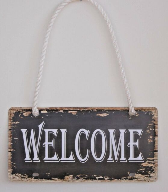 Vintage Retro metal welcome number plate sign home outdoor decor