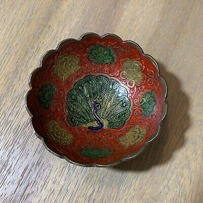 Peacock Dish Brass Trinket  Ring Dish Vanity Dish Small Brass Dish Enamel Brass Inlay Vanity Decor BOHO Nature Inspired Avian Bowl