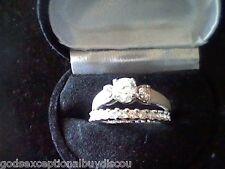 PLATINUM & SS LCS DIAMOND WEDDING ENGAGEMENT  RING SET SZ 6 SZ 5 SZ 7 SZ 8 SZ 9