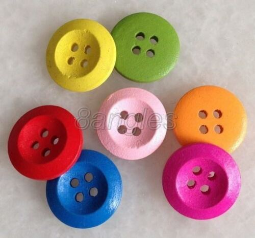 100 Pcs Mixed Multi-color Round Shape Wood Sewing Button Fit Scrapbooking 8nk208
