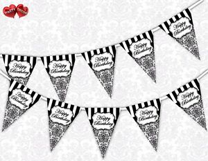 Classic-Black-Damask-Happy-Birthday-Bunting-Banner-15-flags-by-PARTY-DECOR