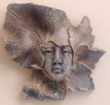 Antique Finished Green Man Girl Woman Face Leaf Mask Wall Home Garden Decor