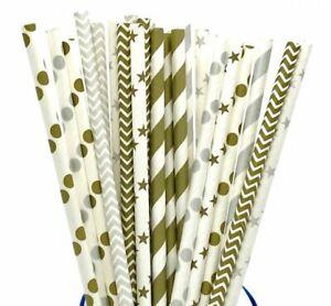 25 50 75 Chevron Paper Straws Birthday Wedding Baby Shower Party Polka Dot