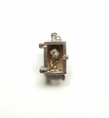 Rare Vintage 925 Silver LEVER OPERATED MOVING SPIT ROAST CHICKEN Charm 7.1g