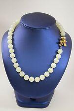 Beautiful Estate Celadon Jade Beads Vermeil Clasp With Pearls