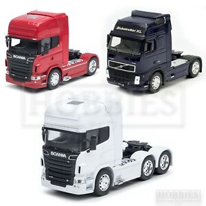 Welly-Truck-Cab-1-32-Scale-Diecast-Volvo-FH12-Scania-V8-R730-White-Red-Blue
