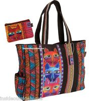 Laurel Burch Stacked Whiskered Cat Oversized Tote Travel Hobby W Red Makeup Bag