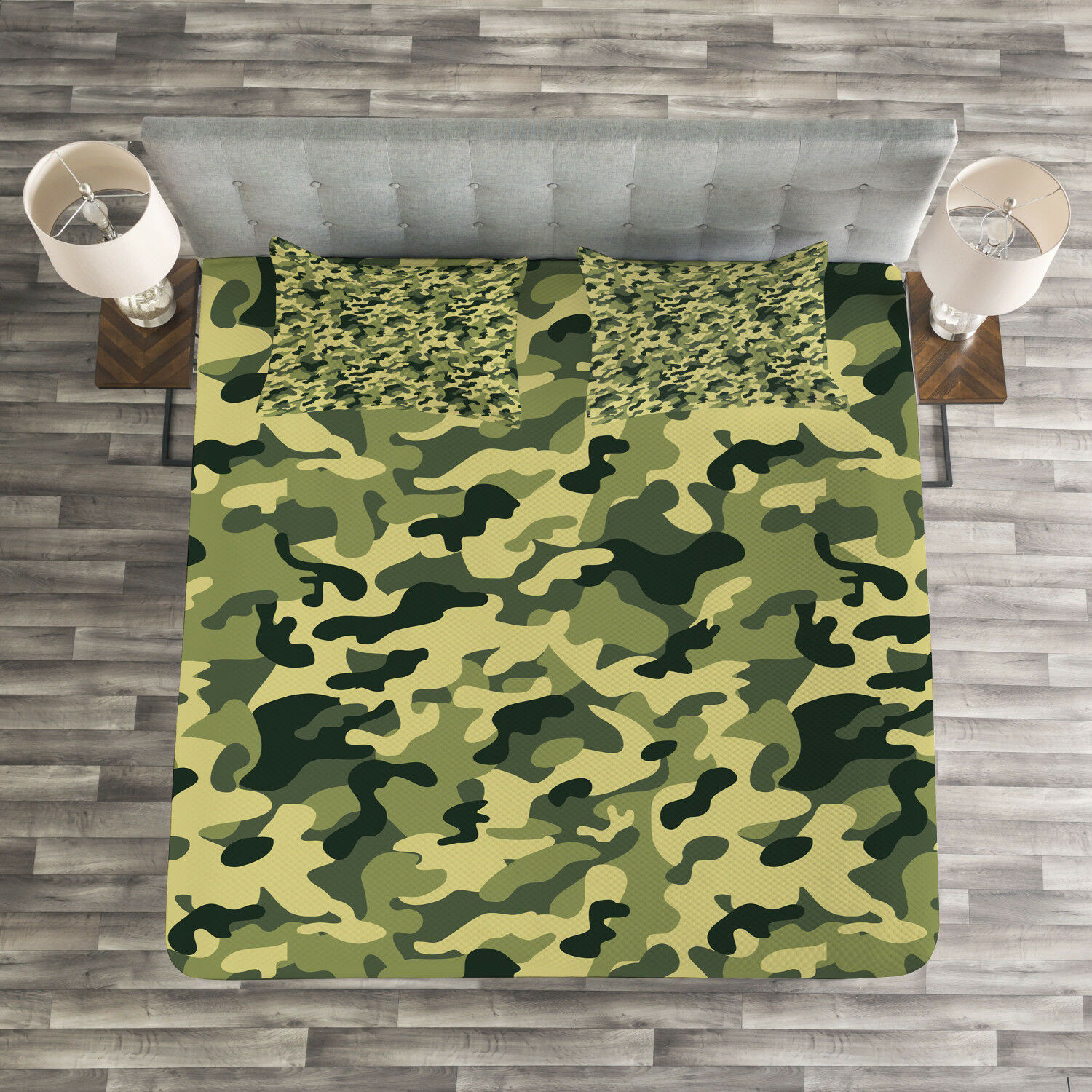 Camouflage Quilted Bedspread & Pillow Shams Set, Pale Clothing Motif Print