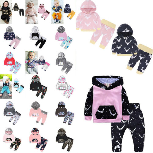 2Pcs Toddler Baby Boys Girls Dress Hooded Coat + Pants Set Kids Clothes Outfits