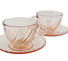 Pink Glass Saucer  5.33 Diameter  Arcoroc  Pattern ACO17  France  Replacement  Cup and Saucer Set  Wavy Textured Swirl  Breakfast