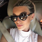 Designer Cat Eye Vintage Rhinestones Semi Rim Women Fashion Sunglasses