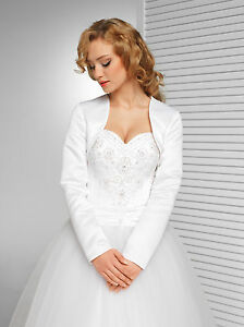 Brautjacke-Brautbolero-Weiss-Ivory-Hochzeit-Wedding-Bridal-Satin-langarm-40