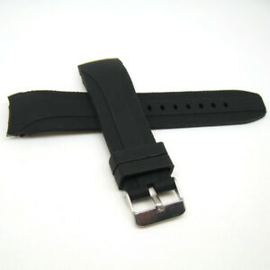 22mm Curved End Silicone Rubber Watch Band Sports Casual Strap Black