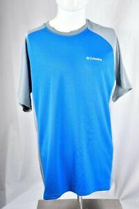 Columbia-PFG-Mens-Short-Sleeve-Omni-Shade-Fishing-TShirt-Size-Medium-Blue-Grey