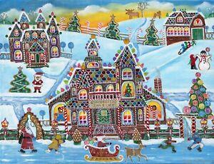 Christmas Gingerbread House Cartoon.Details About Original Folk Art Painting Christmas Snow Santa Reindeer Gingerbread House Moose