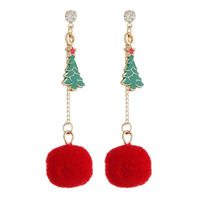 Christmas Tree Drop Dangle Earrings Chain Pom Pom Ear Studs Jewelry Gift WomenBB