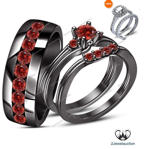 1.80 Ct Red Garnet His And Her Bridal Trio Wedding Ring Sets 14K Black Gold Over
