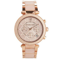 Michael Kors MK5896 Parker Glitz Rose Blush Crystal Womens Watch