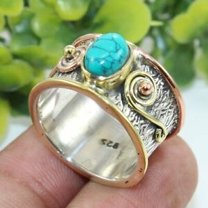 Turquoise-Solid-925-Sterling-Silver-Band-Ring-Meditation-statement-Ring-sr111